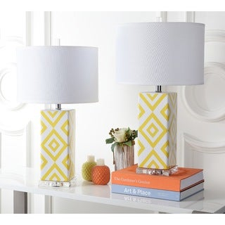 Safavieh Indoor 1-light Yellow Diamonds Table Lamp (Set of 2)