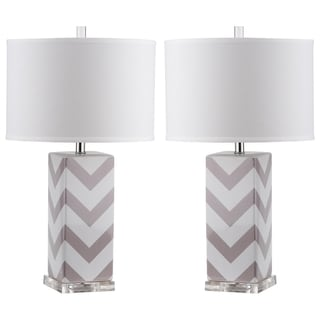 Safavieh Lighting 27-inches Grey Chevron Stripe Table Lamp (Set of 2)