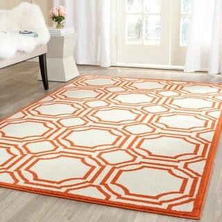 Safavieh Amherst Indoor/ Outdoor Ivory/ Orange Rug (7' Square)