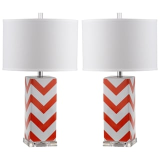 Safavieh Indoor 1-light Orange Chevron Stripe Table Lamp (Set of 2)