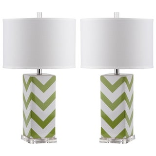 Safavieh Lighting 27-inch Green Chevron Stripe Table Lamp (Set of 2)