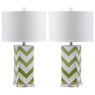 Safavieh Indoor 1-light Green Chevron Stripe Table Lamp (Set of 2)