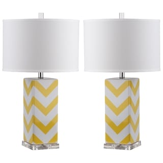 Safavieh Indoor 1-light Yellow Chevron Stripe Table Lamp (Set of 2)