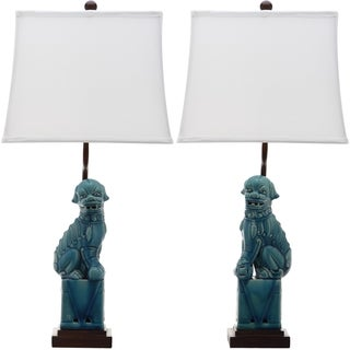 Safavieh Lighting 28-inches Blue Foo Dog Table Lamp (Set of 2)