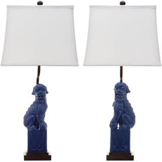Safavieh Indoor 1-light Navy Foo Dog Table Lamp (Set of 2)