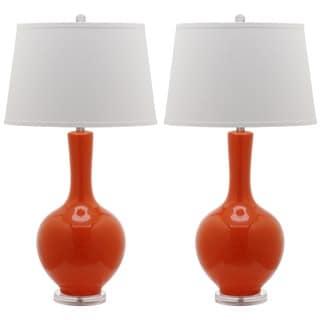 Safavieh Indoor 1-light Orange Blanche Gourd Lamp (Set of 2)