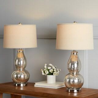 "Safavieh Lighting 28.5-inch Antique Silver Mercurio Double Gourd Lamp (Set of 2) - 15"" x 15"" x 28.5"""