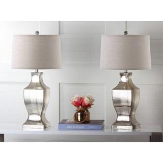 "Safavieh Lighting 29-inch Antique Silver Glass Bottom Lamp (Set of 2) - 15""x15""x29"""