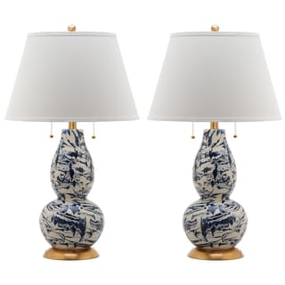 Safavieh Indoor 1-light Navy and White Color Swirls Glass Table Lamp (Set of 2)