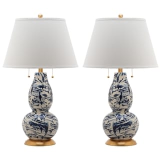 """Safavieh Lighting 29-inch Navy and White Color Swirls Glass Table Lamp (Set of 2) - 17""""x17""""x28"""""""