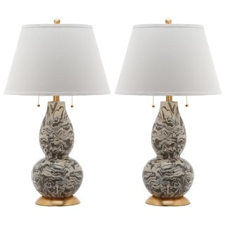Safavieh Indoor 1-light Grey and White Color Swirls Glass Table Lamp (Set of 2)