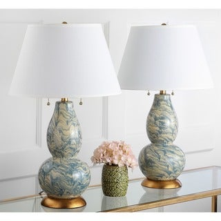 Safavieh Indoor 1-light Blue and White Color Swirls Glass Table Lamp (Set of 2)