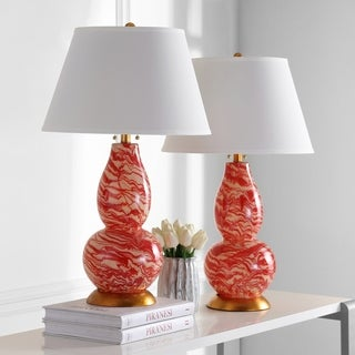 Safavieh Indoor 1-light Red and White Color Swirls Glass Table Lamp (Set of 2)