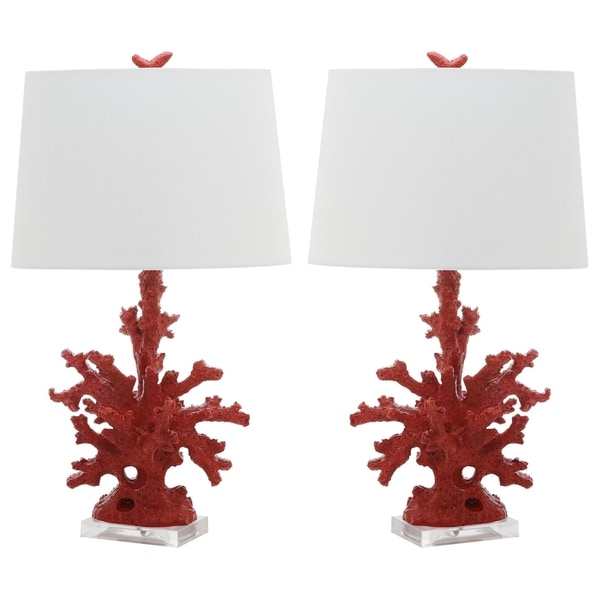 safavieh indoor 1 light red coral branch table lamp set of 2. Black Bedroom Furniture Sets. Home Design Ideas