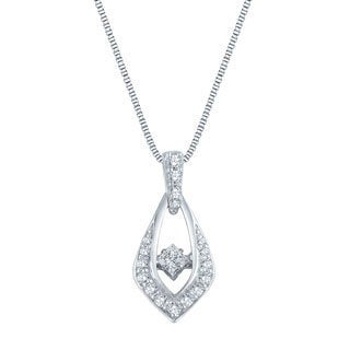 Auriya 14k White Gold 1/2ct TDW Dancing Diamond Pendant Necklace (H-I, I1-I2)