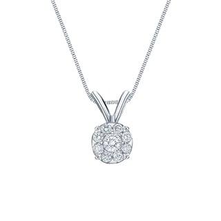 Auriya 14k White Gold 1/4ct TDW Diamond Cluster Necklace (H-I, SI1-SI2)