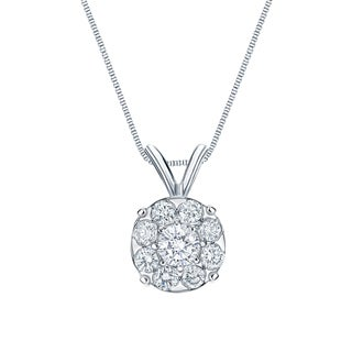 Auriya 14k White Gold 1ct TDW Diamond Cluster Necklace (H-I, SI1-SI2)