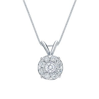 Auriya 14k White Gold 2ct TDW Diamond Cluster Necklace (H-I, SI1-SI2)