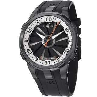Perrelet Men's A1051/4 'Turbine XL' Black/White Dial Black Rubber Strap Watch