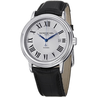 Raymond Weil Men's 2847-STC-00659 'Maestro' Silver Dial Black Leather Strap Automatic Watch