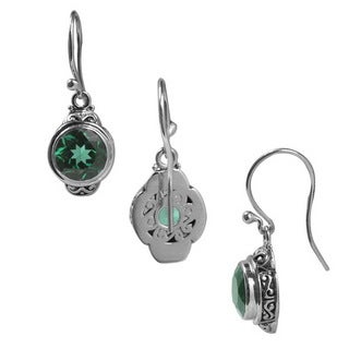 Sterling Silver Bali Faceted Round Green Quartz Dangle Earrings (Indonesia)