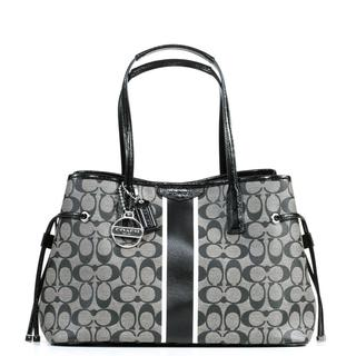 Coach Taylor Signature Stripe Drawstring Carryall in Silver and Black