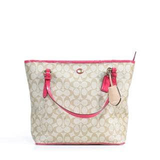 Coach Peyton Signature Top Zip Tote in Pomegranate
