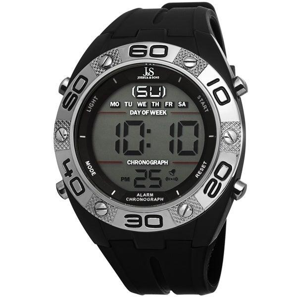 Joshua & Sons Men's Digital Chronograph Silicone Strap Watch