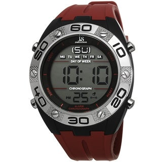 Joshua & Sons Men's Digital Chronograph Silicone Strap Watch