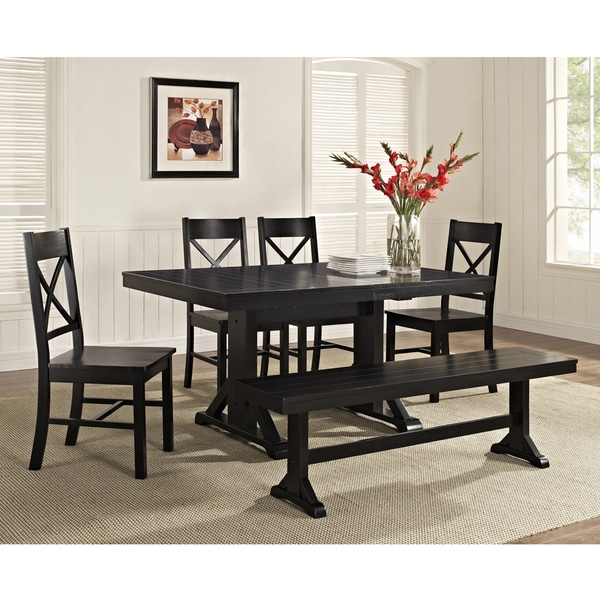 Black Solid Wood 6-Piece Dining Set