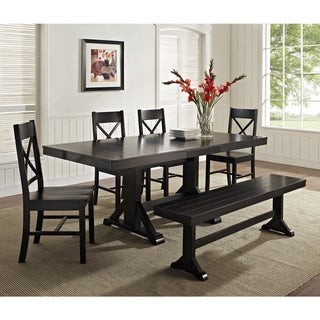 Black Solid Wood 6-Piece Dining Set