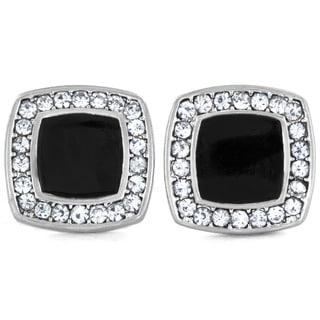 West Coast Jewelry Silvertone Micro Pave Crystal Trimmed Black Enamel Square Post Earrings
