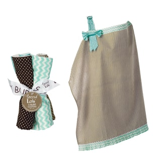Trend Lab 5-piece Nursing Cover and Burp Cloth Set in Cocoa Mint