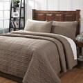 Zig Zag Taupe Textured Cotton Quilt Set