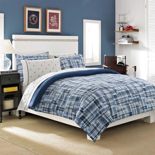 Nautica Newcastle Navy Reversible 3-piece Cotton Comforter Set