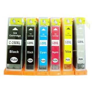 6-Pack Replacing Canon PGI-250 CLI-251 Ink Cartridge For PIXMA MG5420 MG5450 MG6320 MG6350 MX922 iP7220 iP7250 MX722