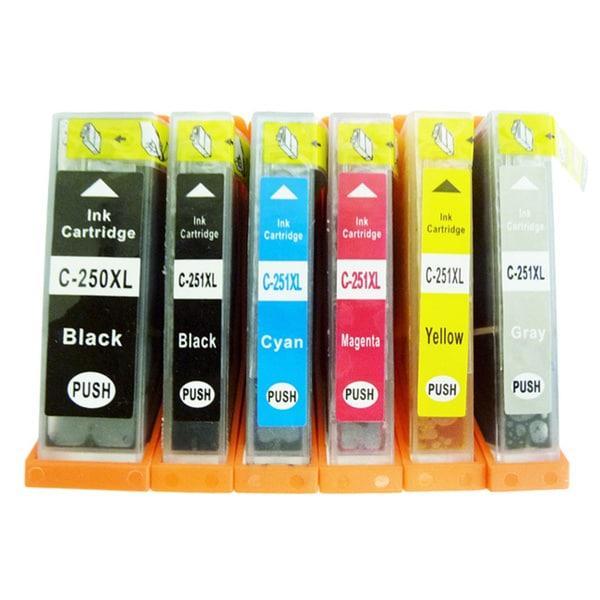 6-Pack Replacing Canon PGI-250 CLI-251 Ink Cartridge For PIXMA MG5420 MG5450 MG6320 MG6350 MX922 iP7220 iP7250 MX722