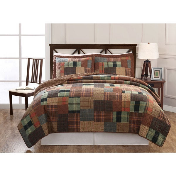 Hand-crafted Jewel Tone Plaid Patchwork Cotton 3-piece Quilt Set