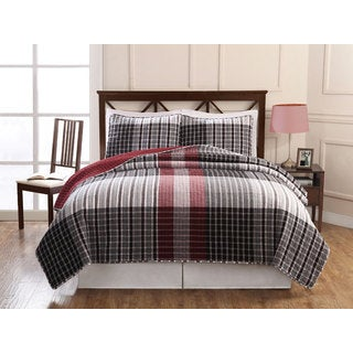 Hand-crafted Black/ Red Plaid Patchwork Cotton 3-piece Quilt Set