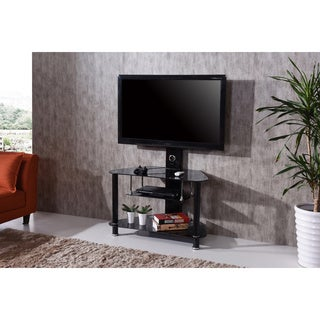 Black Tempered Glass TV Stand and Mount