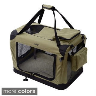 Large Portable Soft Pet Crate with Carrier Strap