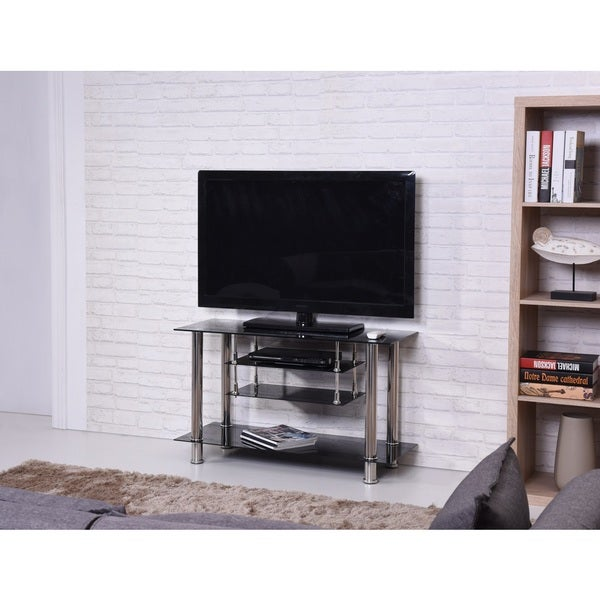 Black/ Chrome Tiered Tempered Glass TV Stand