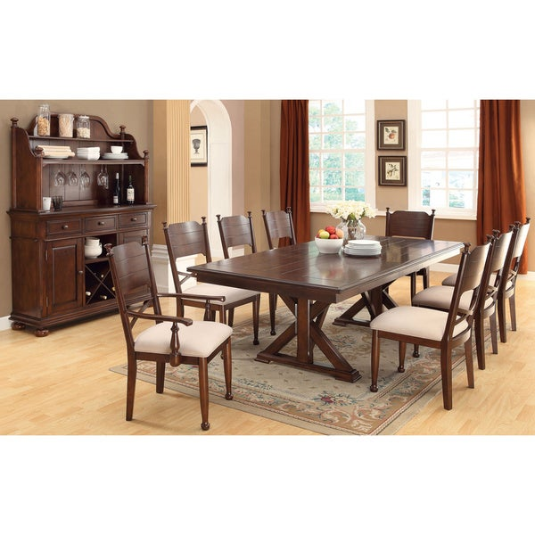 Derby Transitional Style Brown Cherry Finish 9-piece Dining Set