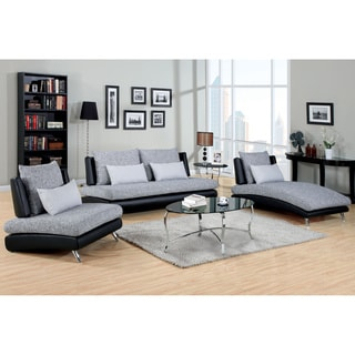 Blace 3 pieces Living Room Set in Gray & Black with Free Pillows