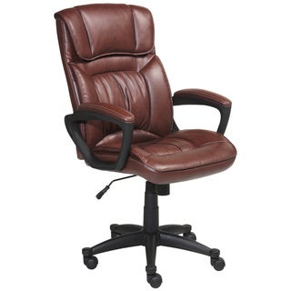 Serta Cognac Brown Puresoft Faux Leather Executive Office Chair