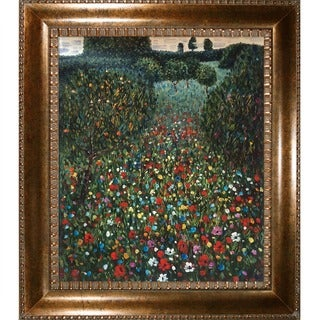 Gustav Klimt Field of Poppies Hand Painted Framed Canvas Art