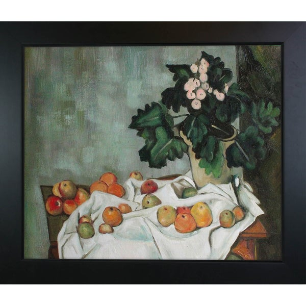 Paul Cezanne Still Life with Apples and a Pot of Primroses Hand Painted Framed Canvas Art