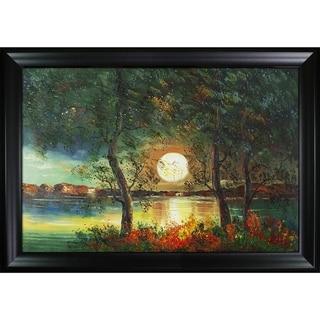 Justyna Kopania Moon Hand Painted Framed Canvas Art