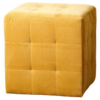 ABBYSON LIVING Yellow Davis Tufted Velvet Ottoman