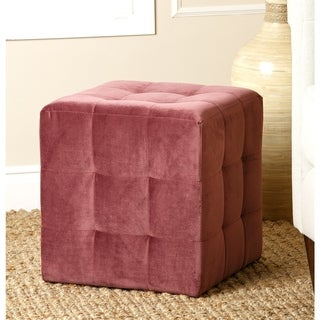 Abbyson Living Purple Davis Tufted Velvet Ottoman